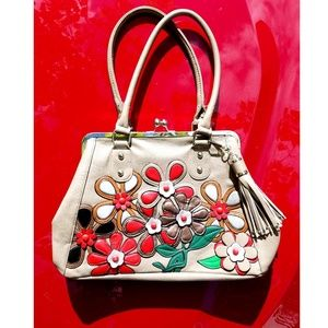 Tassle Handbag Boho Purse Shoulder Bag Floral Tan
